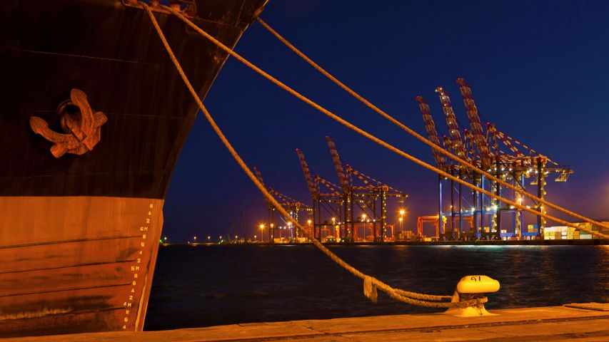 For World Maritime Day, a ship docked at night in the Port of Cape Town, South Africa