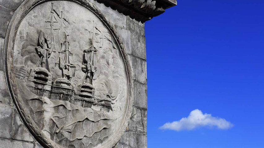 Stone carving on Nelson's Column at Place Jacques-Cartier in Old Montreal