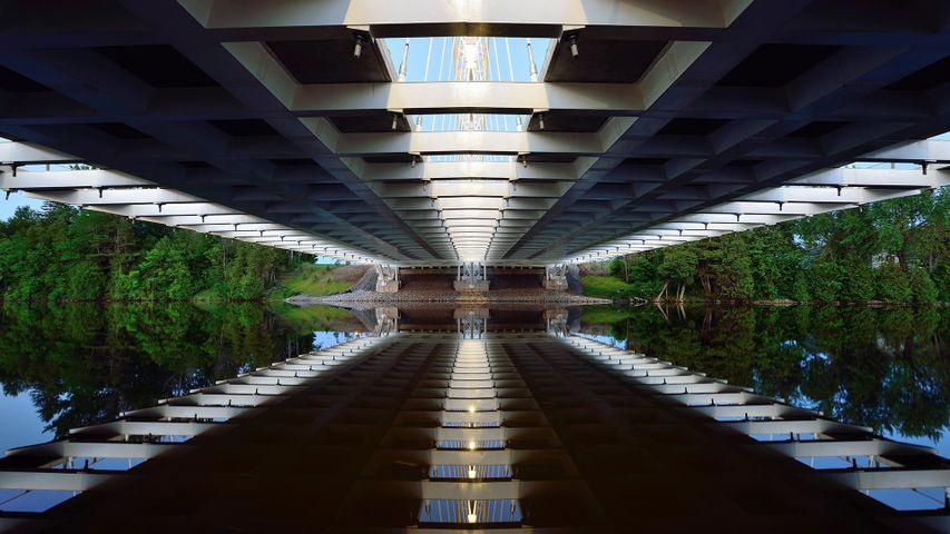 Reflection of the Vimy Memorial Bridge in Ottawa