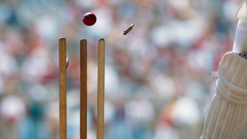 A cricket ball striking the wicket