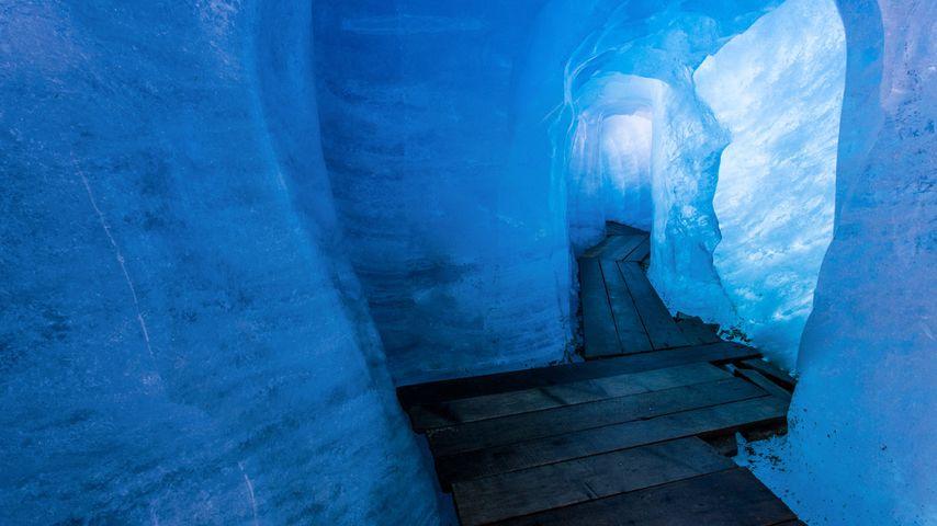 Rhône Glacier ice grotto in Valais, Switzerland