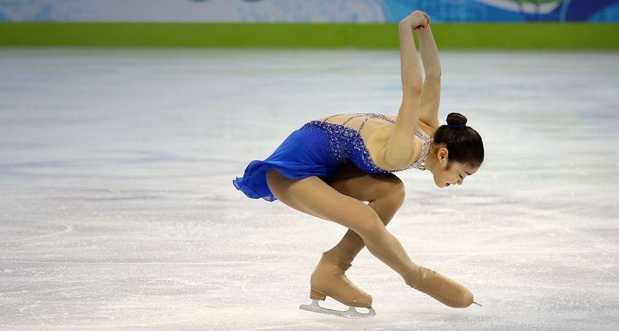 Goldmedaillen-Gewinnerin Kim Yu-Na aus Südkorea während des Eiskunstlauf-Finales der Damen am 25. Februar 2010 bei den Olympischen Winterspielen in Vancouver – Jamie Squire/Getty Images ©