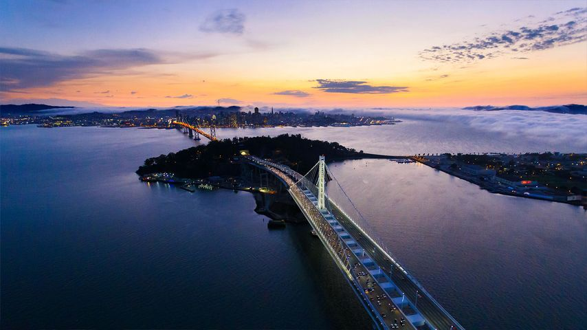 San Francisco-Oakland Bay Bridge with San Francisco in the background, California