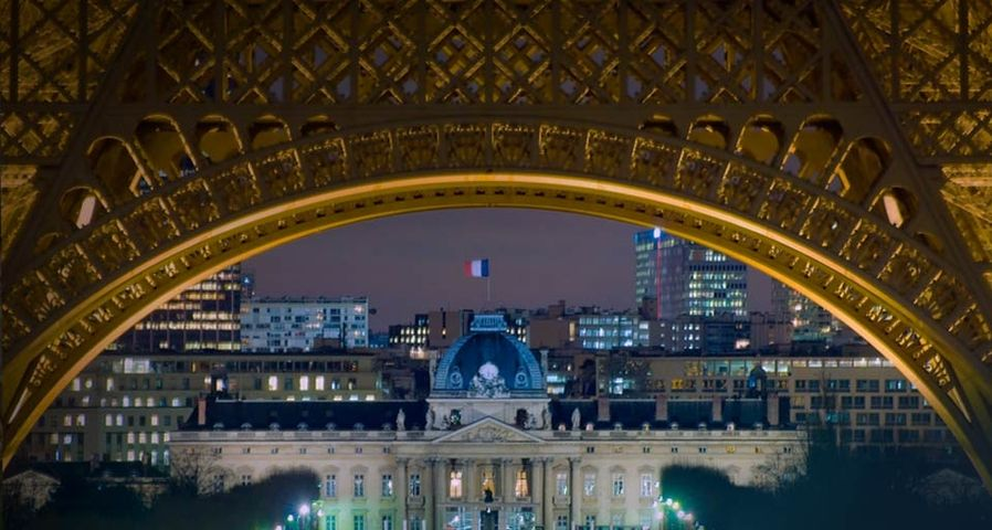 Night view of the École Militaire from the Eiffel Tower, Paris, France