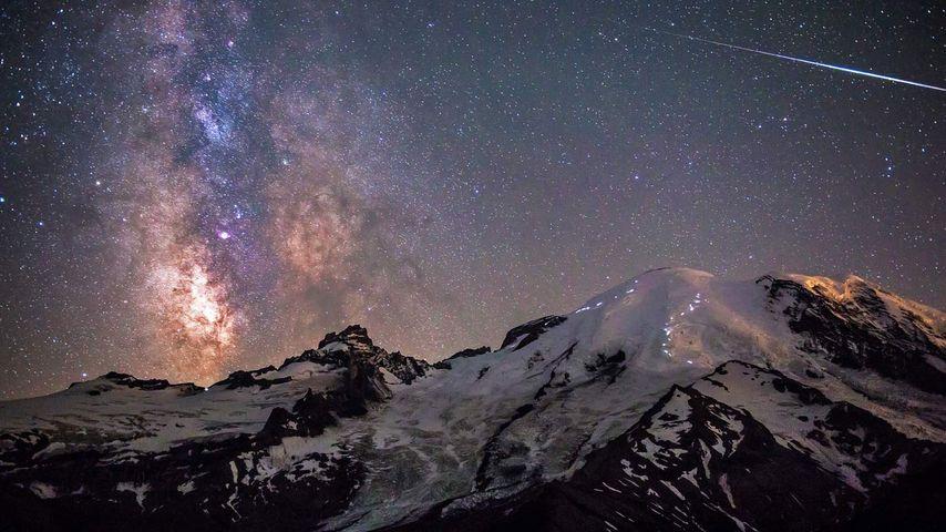 Milky Way above Mount Rainier in Mount Rainier National Park, Washington