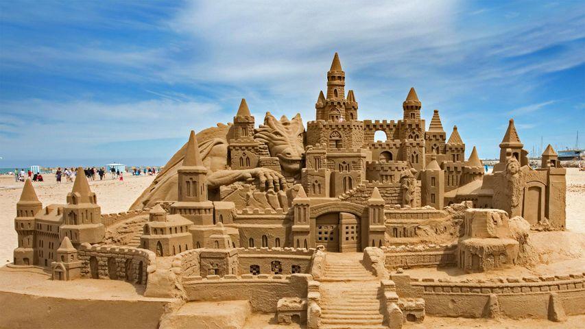 Sandcastle on Malvarrosa Beach in Valencia, Spain