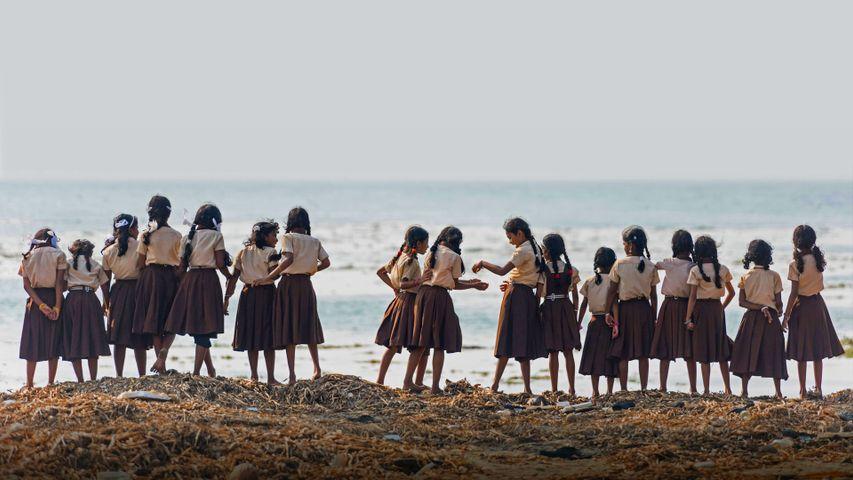 Schülerinnen in Fort Kochi, Kerala, Indien. Anlässlich des Internationalen Mädchentages