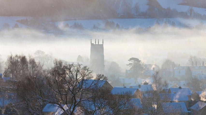 View of Wotton-Under-Edge, Cotswolds, in winter with snow
