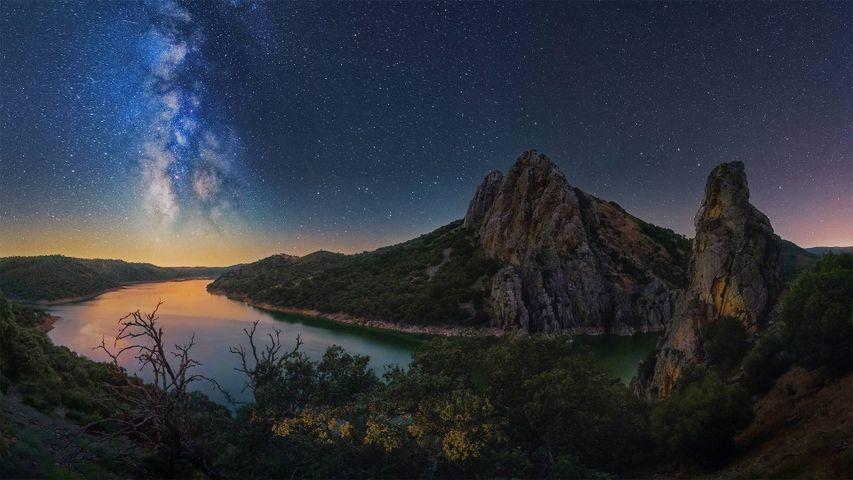 Milky Way over the Tagus river, Monfragüe National Park, Spain