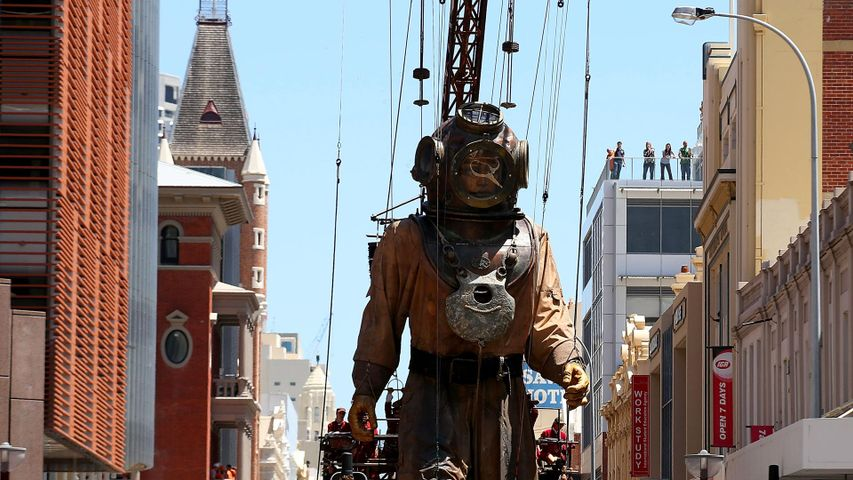 The Diver Giant walks up Hay Street during the 2015 Perth International Arts Festival