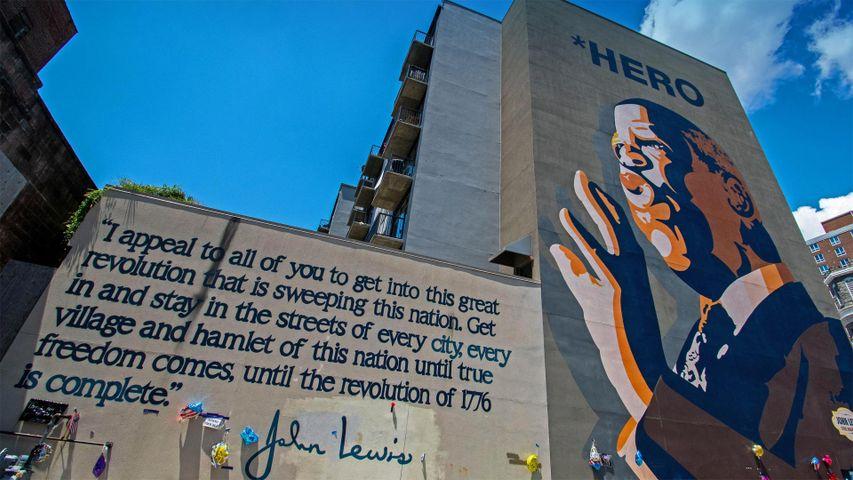 John Lewis hero mural by Sean Schwab in the Sweet Auburn district of Atlanta, Georgia