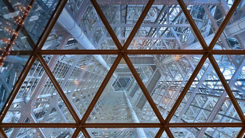 Interior view of Fukuoka Tower in Fukuoka, Japan