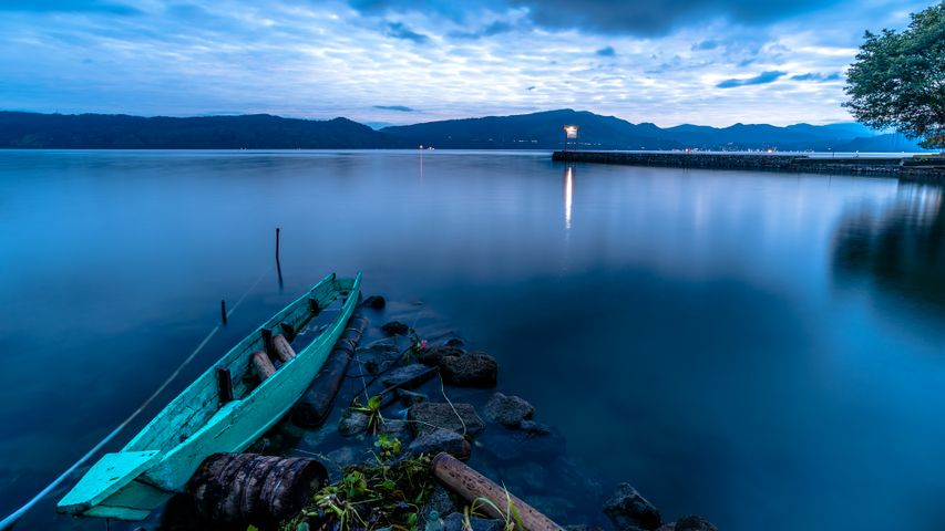 water boat sky landscape outdoor mountain lake nature