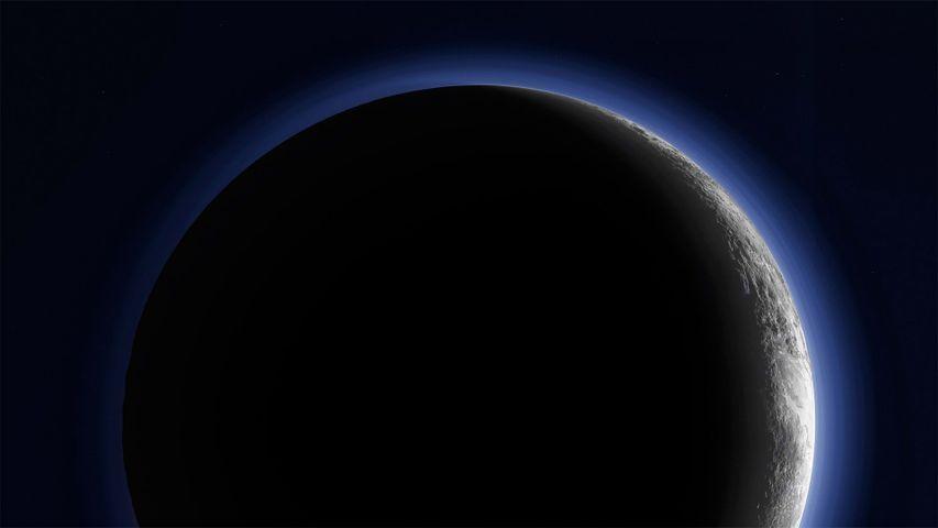 Pluto's crescent imaged by NASA's New Horizons interplanetary space probe