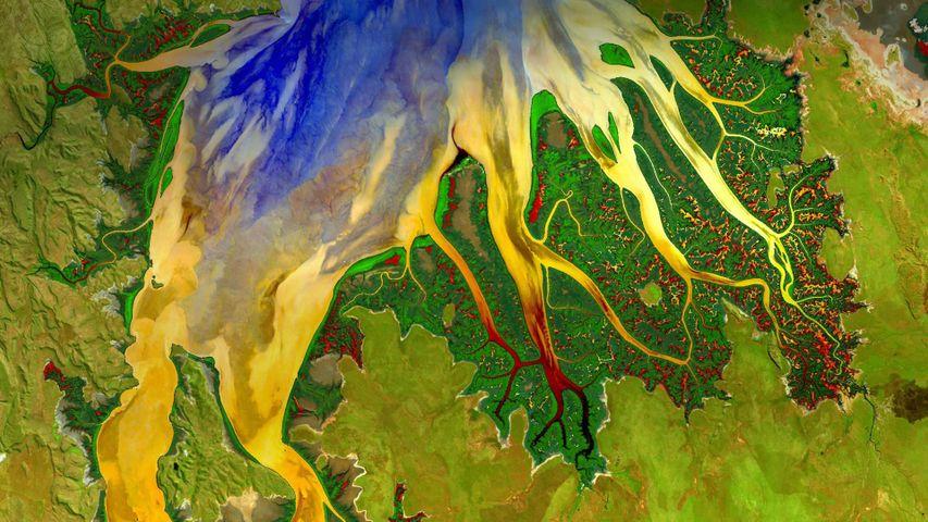 通过陆地卫星8号拍摄到的澳大利亚西部的剑桥湾河口