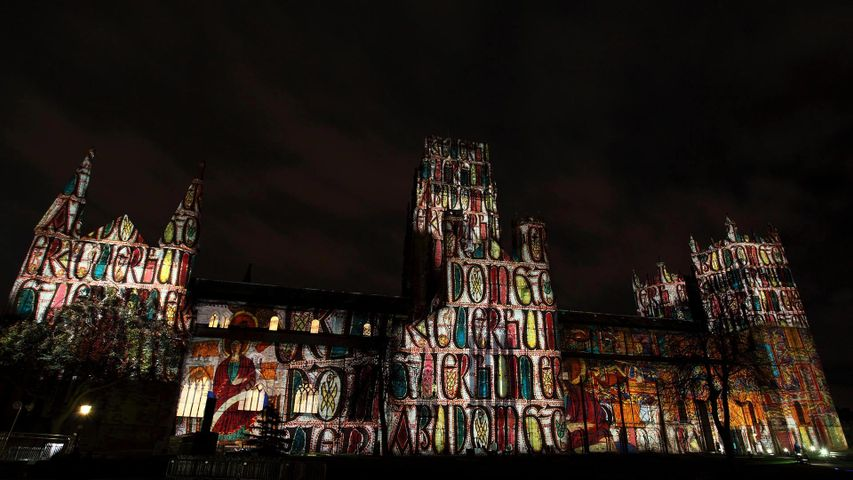 The 'Crown of Light' installation is projected onto Durham Cathedral during the 2013 Lumiere Durham festival in England