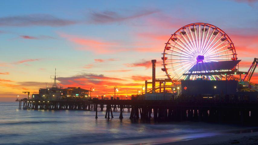 美国洛杉矶,游乐园夜景