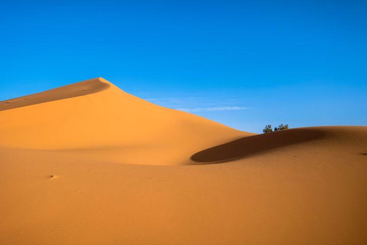 Beautiful Desert With Sunset & Sky