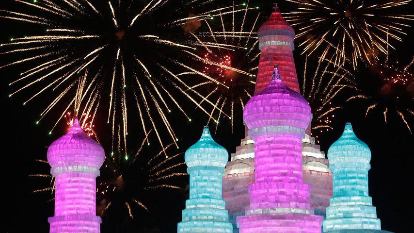 【今日大寒】哈尔滨国际冰雪节盛开的烟花,黑龙江哈尔滨