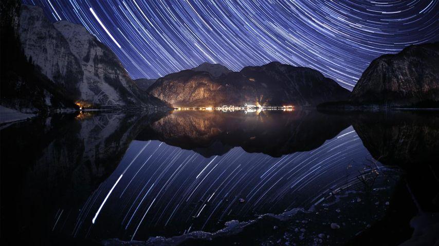 Stars arc over Lake Hallstatt, Austria