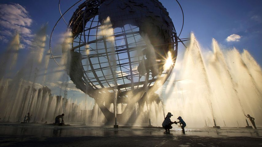 The Unisphere outside the grounds of the US Open tennis championships in Flushing Meadows-Corona Park in Queens, New York City