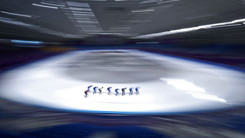 Speed skaters training at the Gangneung Oval on February 4, 2018, in Pyeongchang, South Korea