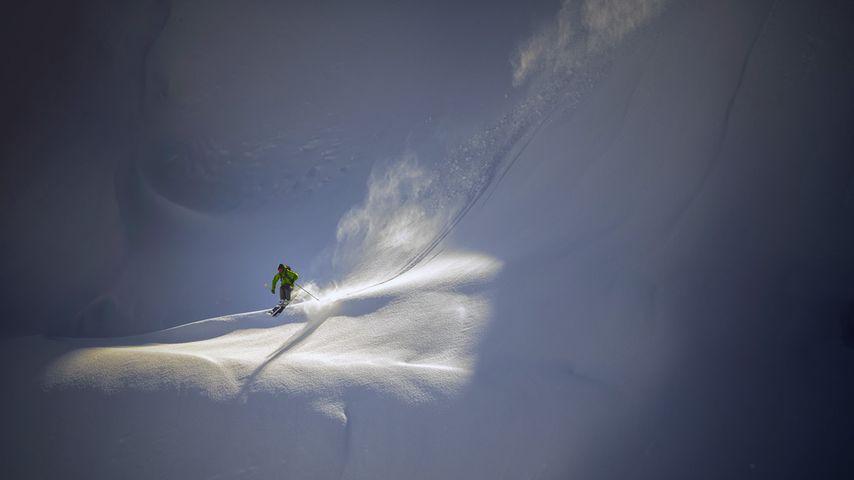 Backcountry skier near Mt. Baker Ski Area, North Cascades National Park, Washington
