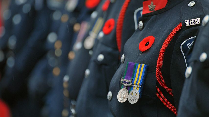 Remembrance Day parade and service in London, Ont.