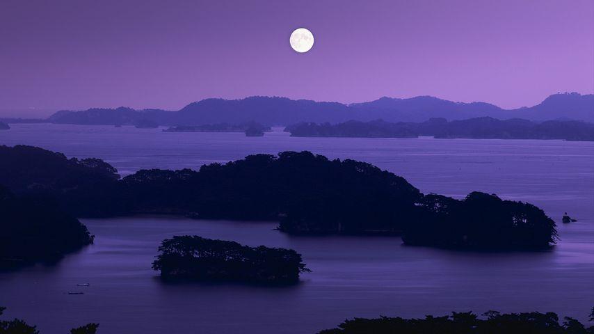 Matsushima Bay at night with full moon, Matsushima town, Miyagi prefecture, Japan