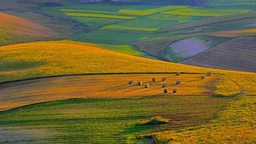 Sunset on Piano Grande plateau, Perugia district, Italy