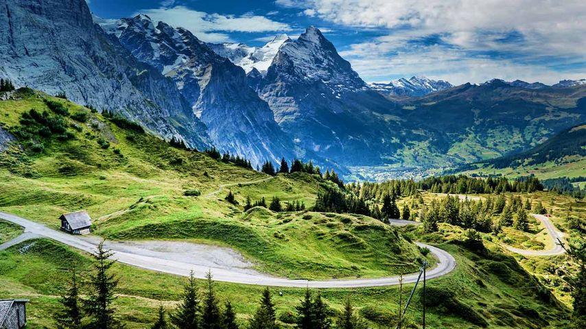 View of the Eiger from the Grosse Scheidegg mountain pass, Switzerland