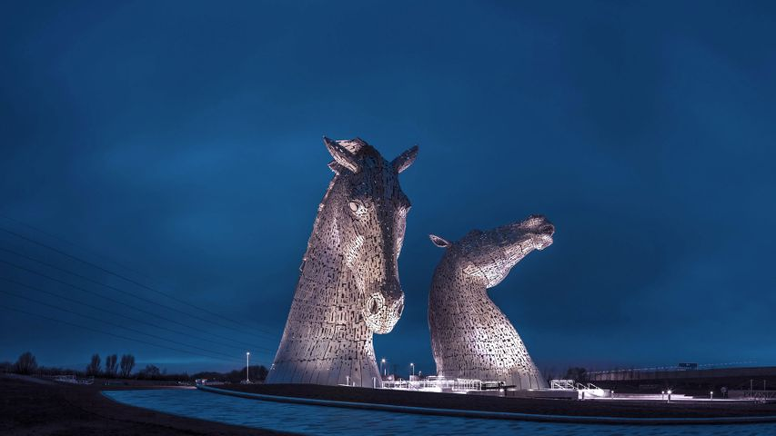 The Kelpies statues at The Helix, a park in Falkirk, Scotland