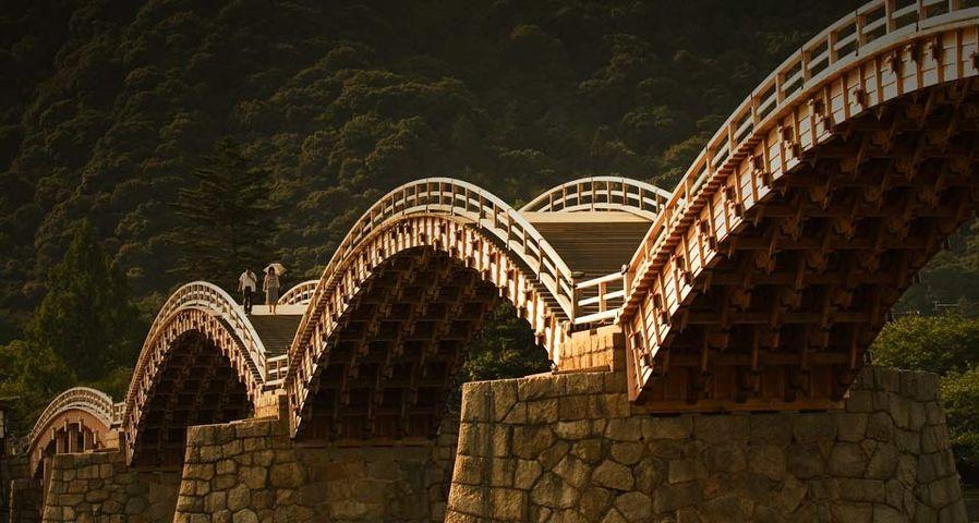Wooden foot bridge in Iwakuni, Japan