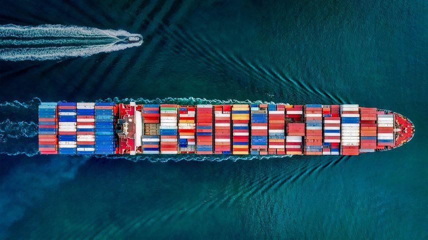 「サンペドロのコンテナ船」米国, カリフォルニア州