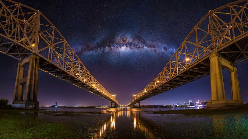 The Crescent City Connection bridges in New Orleans, Louisiana