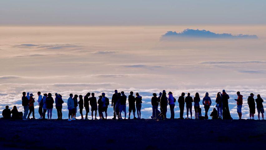 Visitors at the summit of Haleakalā at Haleakalā National Park, Hawaii