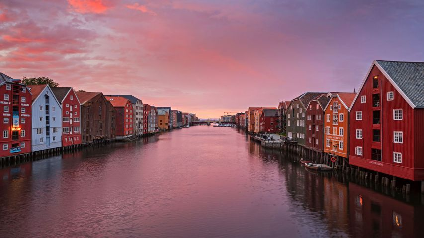 Historic fishing warehouses in Trondheim, Norway