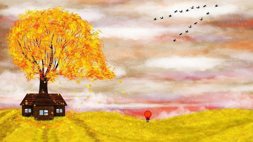 Illustration automnale d'une petite fille avec un parapluie pour la Journée mondiale du film d'animation