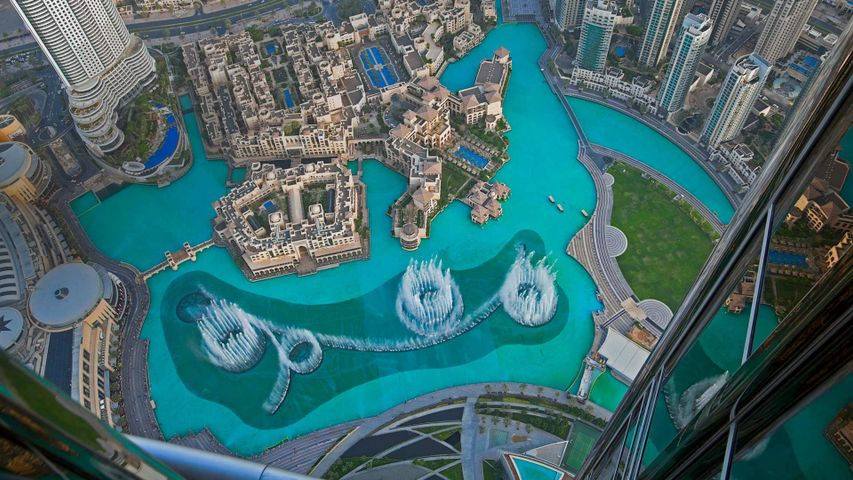 The Dubai Fountain in Burj Lake taken from the Burj Khalifa in Dubai