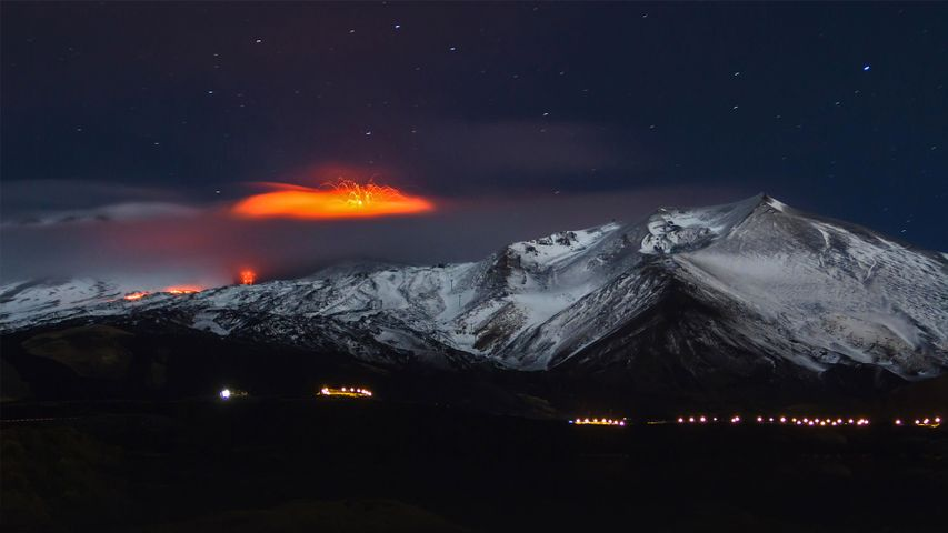 Mount Etna erupting in 2013, Sicily, Italy