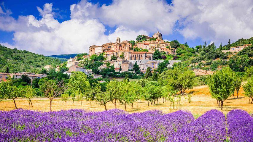 Village de Simiane-la-Rotonde et champ de lavande, en Provence