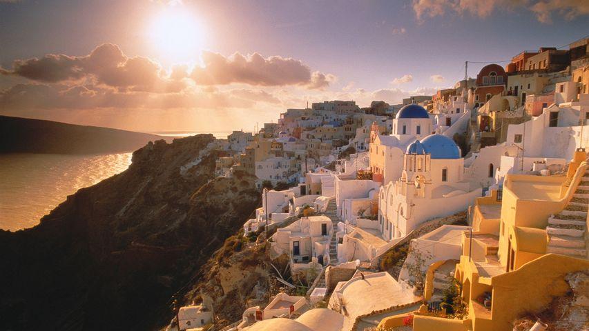 Bingの10年: 朝景と夕景. バラ色の光に包まれた世界
