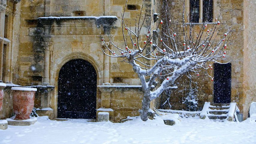 Château de Lourmarin sous la neige, Vaucluse, France