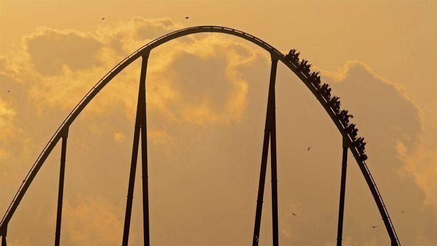Shambhala roller coaster, PortAventura Park, Salou, Tarragona, Spain