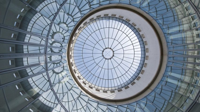 Glaskuppel der Schirn Kunsthalle, Frankfurt am Main, Hessen, Deutschland