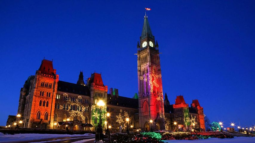 Christmas Lights on the Parliament Buildings, Peace Tower, Parliament Hill, Ottawa