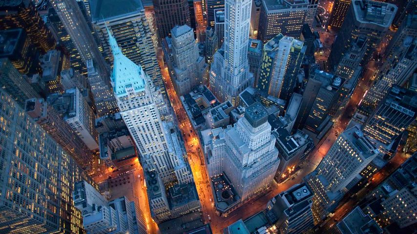 Aerial view of Wall Street, Manhattan, New York City, New York