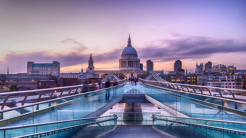 View of Millennium Bridge and St Paul's Cathedral, London