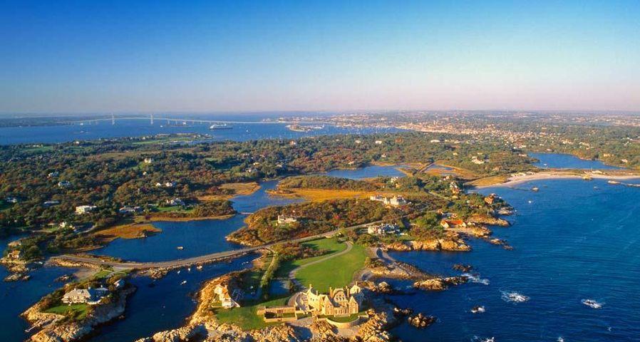 Aerial view near Ocean Drive in Newport, Rhode Island, USA