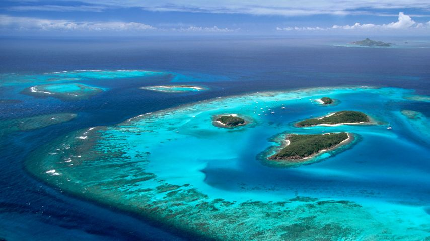 Aerial view of the Tobago Cays group of islands, St. Vincent and the Grenadines